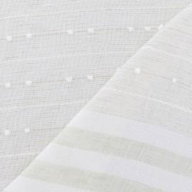 Tissu lin plumetis / rayures vert x 10cm