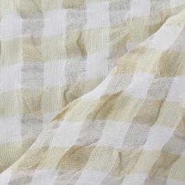 Tissu lin vichy gaufré jaune x 10cm