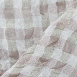 Tissu lin vichy gaufré rose pâle x 10cm