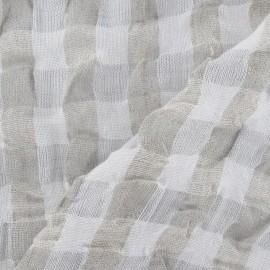 Tissu lin vichy gaufré gris pâle x 10cm