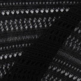 Tissu Jersey maille ajourée noir x 10cm