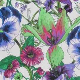 Tissu piqué de coton à fleurs vert vif x 10cm