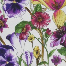 Tissu piqué de coton à fleurs violet x 10cm