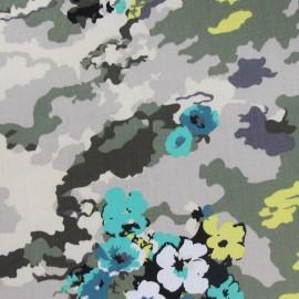 Tissu Gabardine Lycra Fleurs abstraites kaki x 10cm