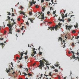 Tissu piqué de coton effet matelassé fleuris écru x 10cm