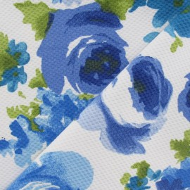 Tissu piqué de coton abeille fleurs aquarelle bleu x 10cm