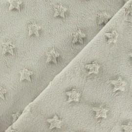 Tissu velours minkee doux relief à étoiles beige x 10cm