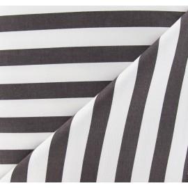 Tissu Gabardine Lycra rayures marron sur fond blanc x 10cm