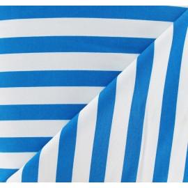 Tissu Gabardine Lycra rayures turquoise sur fond blanc x 10cm