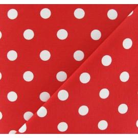 Tissu Gabardine Lycra pois blancs sur fond rouge x 10cm