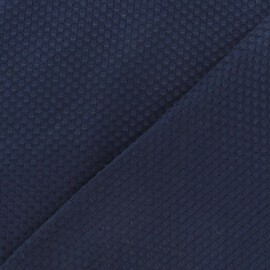 Tissu piqué de coton tissé bleu marine x 10cm