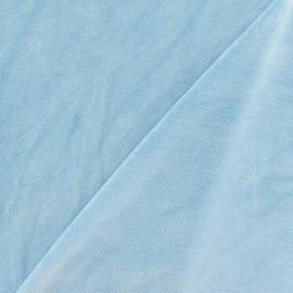 Tissu velours éponge jersey bleu dragée x 10cm