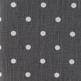 Tissu lin Marilyn pois blanc sur fond gris foncé x 10cm