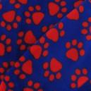 Tissu Doudou pas de chat bleu et rouge x 10cm