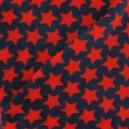 Tissu Doudou motif étoilé rouge fond marine x 10cm