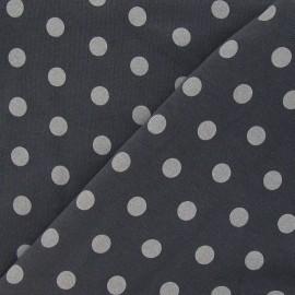 Tissu sweat pois blanc fond gris foncé x 10cm