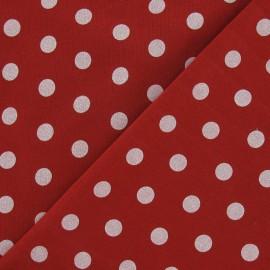 Tissu sweat pois blanc fond rouge x 10cm