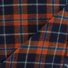 Tissu Coton gratté Tartan Orange / Marine x10cm