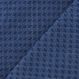 Tissu jeans pied de poule marine x 10cm