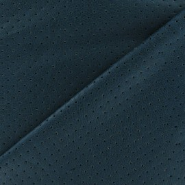 Tissu enduit souple micro perforé bleu paon x 10cm