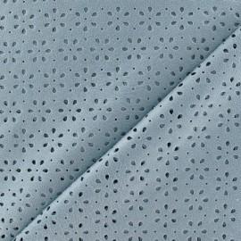 Tissu enduit souple perforé motif fleurs parme x 10cm