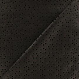 Simili cuir souple perforé fleurs Clara noir x 10cm