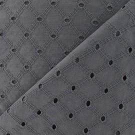 Tissu Lattice eyelet gray x 10cm
