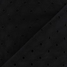Tissu Lattice eyelet blac x 10cm