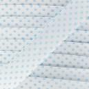 Biais satin à pois bleu ciel sur fond blanc 20 mm