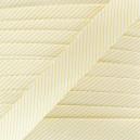 Biais satin à rayures jaune sur fond blanc 20 mm
