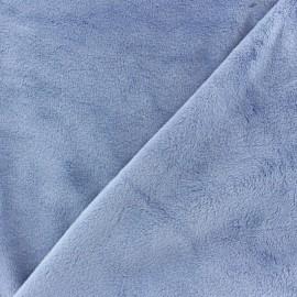 Tissu velours minkee doux ras Bleu lagon x 10cm