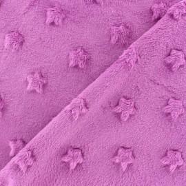 Tissu velours minkee doux relief à étoiles Bleuet x 10cm