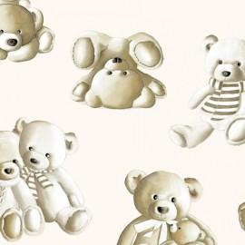 Tissu Percale Teddy  écru x 65cm