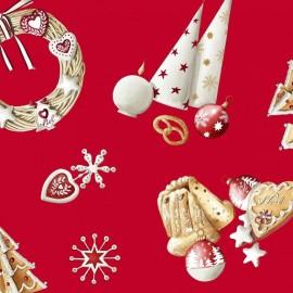 Tissu coton enduit Noël Rouge x 65cm
