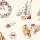 Tissu coton enduit Noël Ecru x 65cm