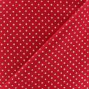 Tissu Noël petits pois argenté fond rouge