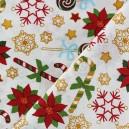 Tissu Noël bonbons doré fond écru  x 10cm