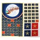 Tissu Noël Calendrier de l'avent Bleu nuit / Or x 95 cm