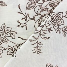 Tissu Toile Zigzag Floral gris anthracite x 10cm