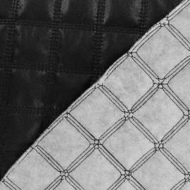 Tissu doublure matelassé simili cuir carreaux noir x 10cm