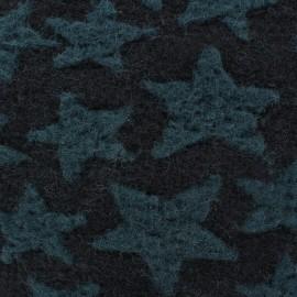 Tissu Lainage Etoiles noires fond gris x 10cm
