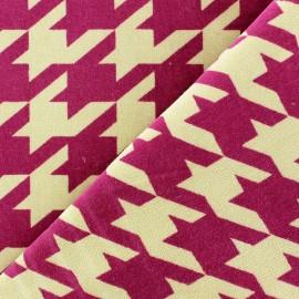 Tissu Velours ras pied de coq framboise fond sable x 10cm