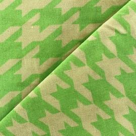 Tissu Velours ras pied de coq anis fond sable x 10cm