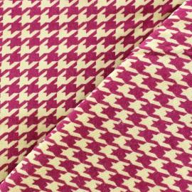 Tissu Velours ras pied de poule rose fond sable x 10cm