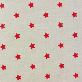 Tissu enduit Etoiles MAGIC  beige / rouge x 10cm