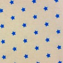 Tissu enduit Etoiles MAGIC  beige / marine x 10cm