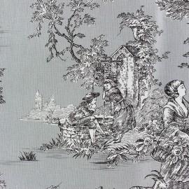 Tissu toile de coton Pastorale Bleu gris x 50 cm