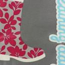 Tissu enduit coton Raining Day gris/anis x 10cm
