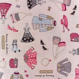 Tissu coton sergé Dressing de charme rose/écru x 10cm