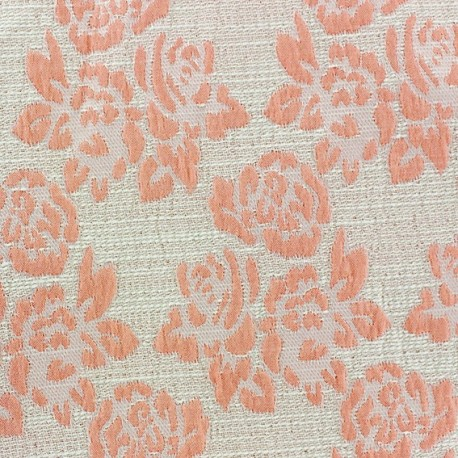 tissu damass floral corail x 10cm ma petite mercerie. Black Bedroom Furniture Sets. Home Design Ideas